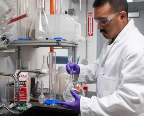 Scientist preparing samples in a laboratory